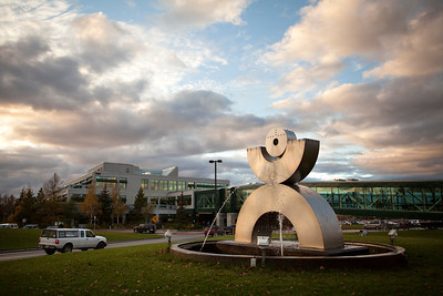 "The ""Happy Man"" sculpture outside of the student union on campus at the University of Alaska in Anchorage Thursday, Oct. 4, 2012. (Erin Hooley/University of Alaska Anchorage Office of Advancement)  100412 Campus 2.jpg"