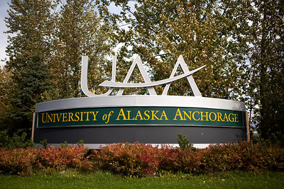 The University of Alaska sign in Anchorage Monday, Sept. 17, 2012. (Erin Hooley/University of Alaska Anchorage Office of Advancement)  091712 Campus Fall 7.jpg
