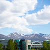 "EIB Health building bridge in front of the Chugach mountain range. Summer on the campus of the University of Alaska Anchorage  <div class=""ss-paypal-button"">20170601-Campus-life-TEK-013.JPG</div><div class=""ss-paypal-button-end""></div>"