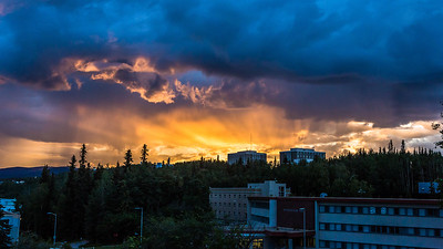 The sun sets over the Fairbanks campus on August 8, 2016. UAF photo by JR Ancheta.