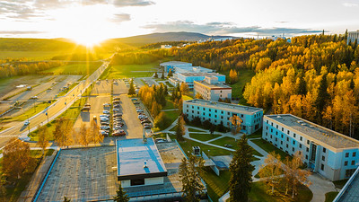 An aerial view of the Troth Yedha' campus during the sunset on an autumn evening. UAF photo by Todd Paris.
