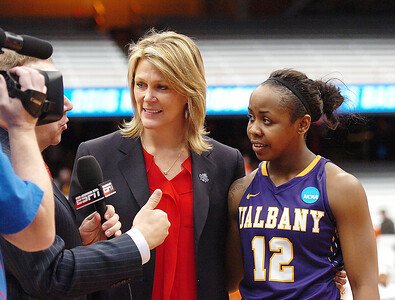 STAN HUDY - SHUDY@DIGITALFIRSTMEDIA.COM To thw winners go the interviews with ESPN as UAlbany coach Katie Abrahamson-Henderson and Imani Tate are interviewed after the Great Danes, a No. 12 seed in the NCAA women's tournament upset No. 5 Florida 61-59 at the Syracuse Carrier Dome Friday afternoon.