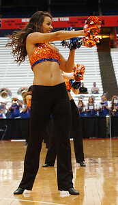 STAN HUDY - SHUDY@DIGITALFIRSTMEDIA.COM A member of the University of Florida dance team performs duirng the second half Friday afternoon at the Syracuse Carrier Dome as UAlbany defeated Florida, 61-59 in the NCAA women's opening round.