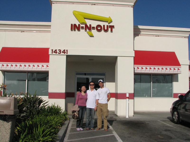 2008 02 11 Mon - Xiaowei Chew, Wilson, & Ben Yu outside In&Out for their honeymoon visit