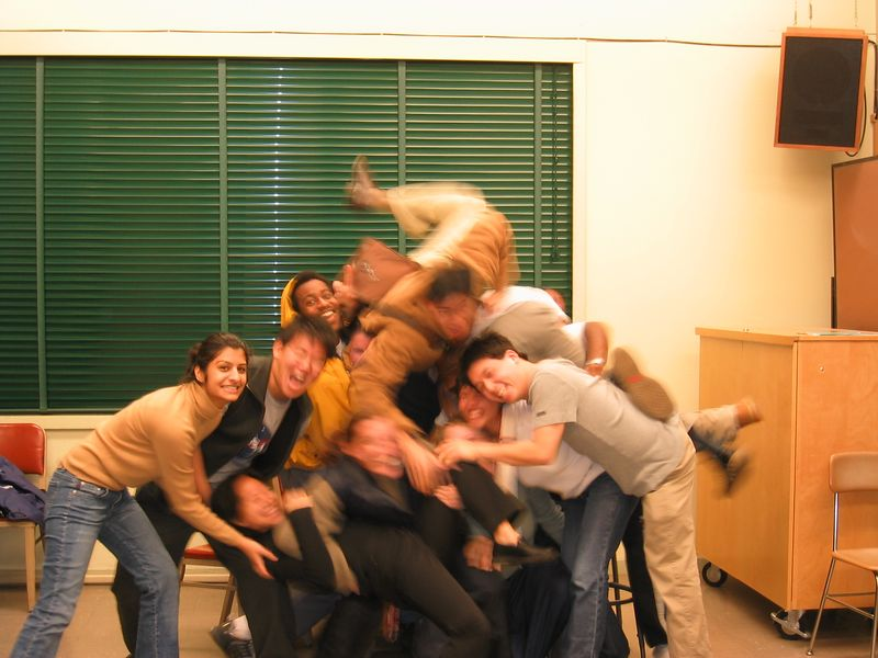 AiR Spring 2003 - Group silly photo @ 1st rehearsal - slow flash, 1-21-2003
