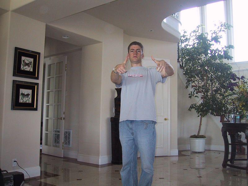 Max rehearses the white-boy dance