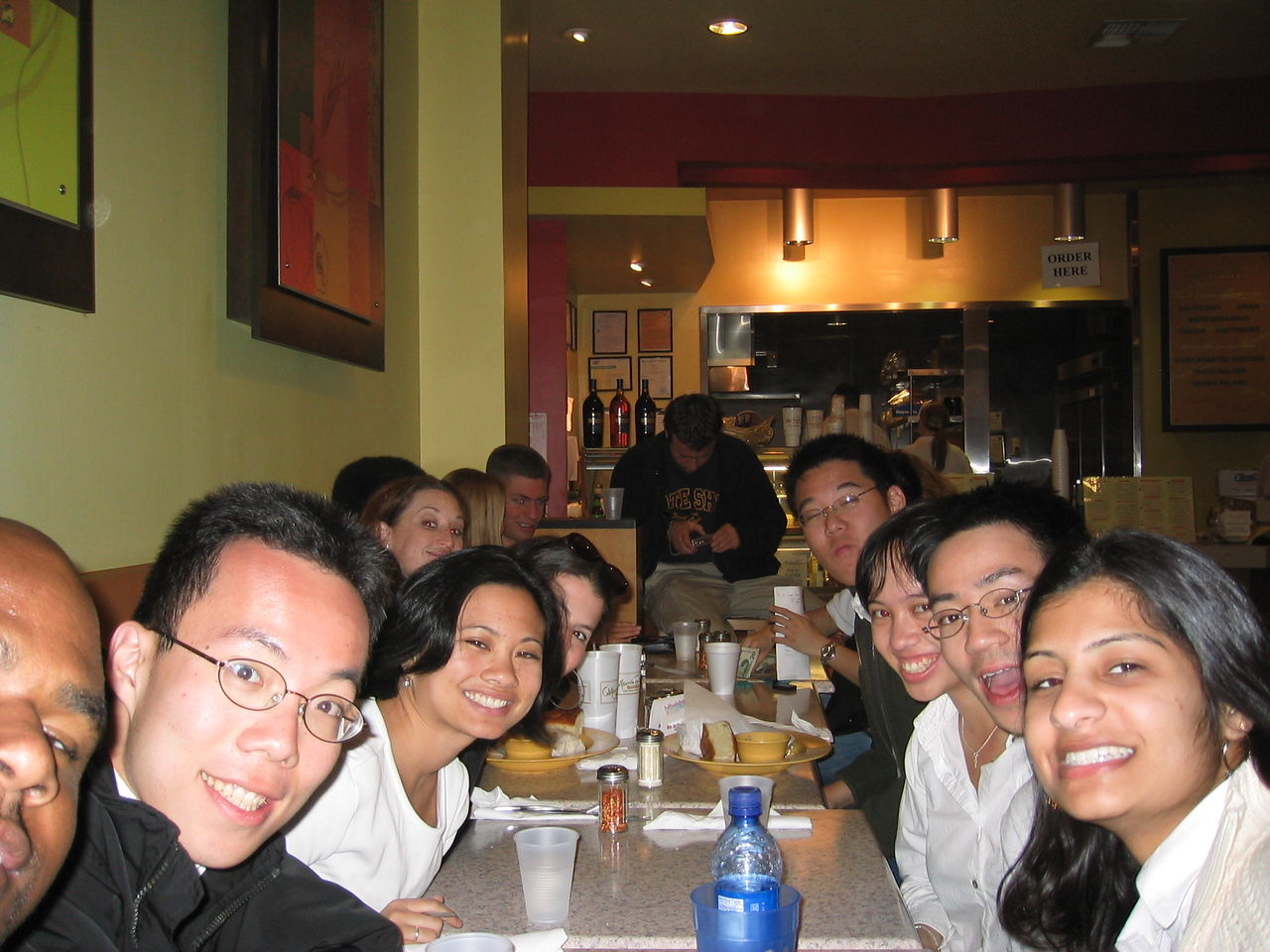 Group photo @ California Pasta Company & Ben's last time with his cup (sniff)