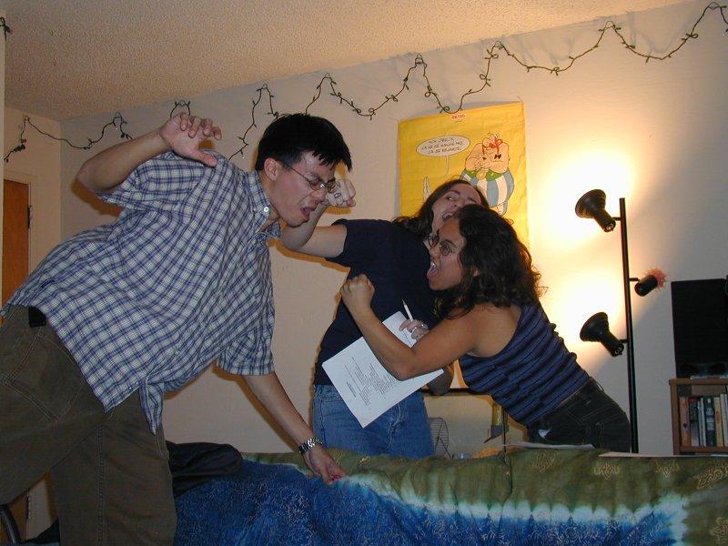 Sara & Jackie pummel Ben