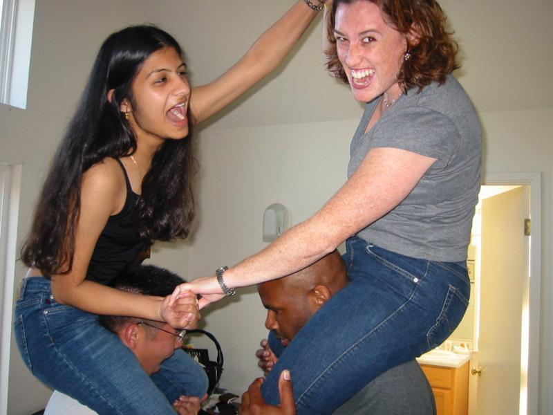 Shaila & Kenji vs  Beth & Marc in fake chicken fight