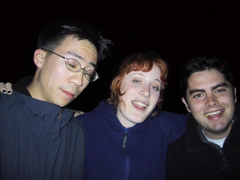One goofy Ben, Sylvia, Jordan during night-singing