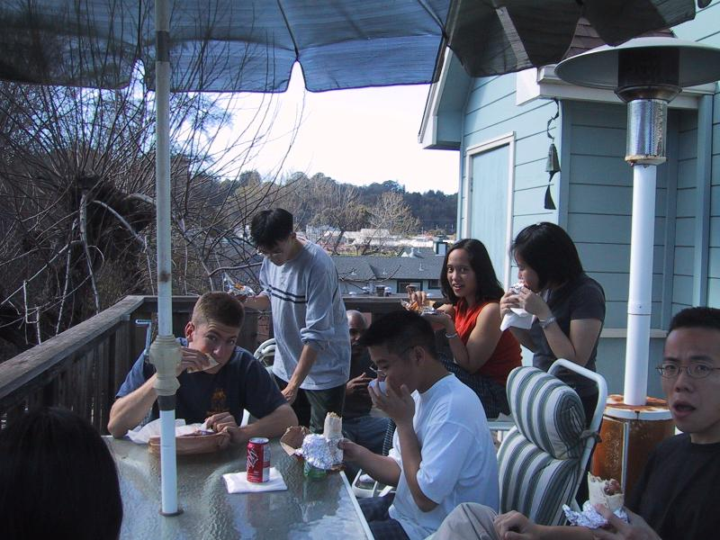 Max, Ben, Marc, Kenji, AnnMarie, Xiao-Wei, Albert eating lunch on deck