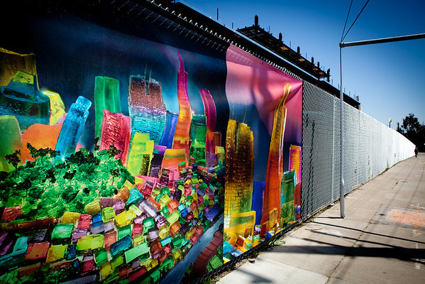 UCSF Mission Bay Jell-O Fence Mural Installation