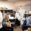 9:15 am: In the precepting room, from left to right: NP fellow Sierra Carter, NP preceptor Susan Janson, MD preceptor Rebecca Shunk, physician preceptor Nha-Ai Nguyen-Duc (back to camera), medicine resident Melisa Wong, UCSF faculty observer Angel Chen and MD preceptor Calvin Chou.