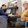 8:30 am: Nurse practitioner fellow Morgan Fitzpatrick takes a patient history with a diabetic veteran.