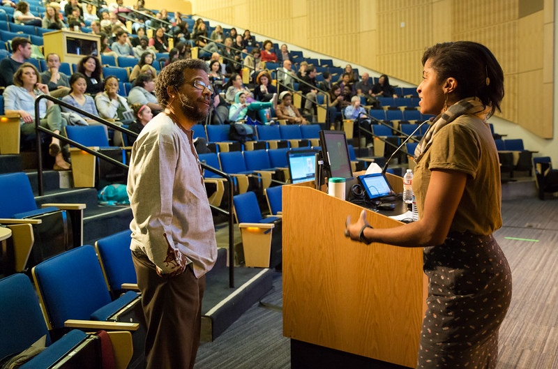 The Last Lecture -Dr. Howard Pinderhughes,UCSF,SON, Howard speaking with Jhia Jackson, Sociology Doctoral Student. Opener