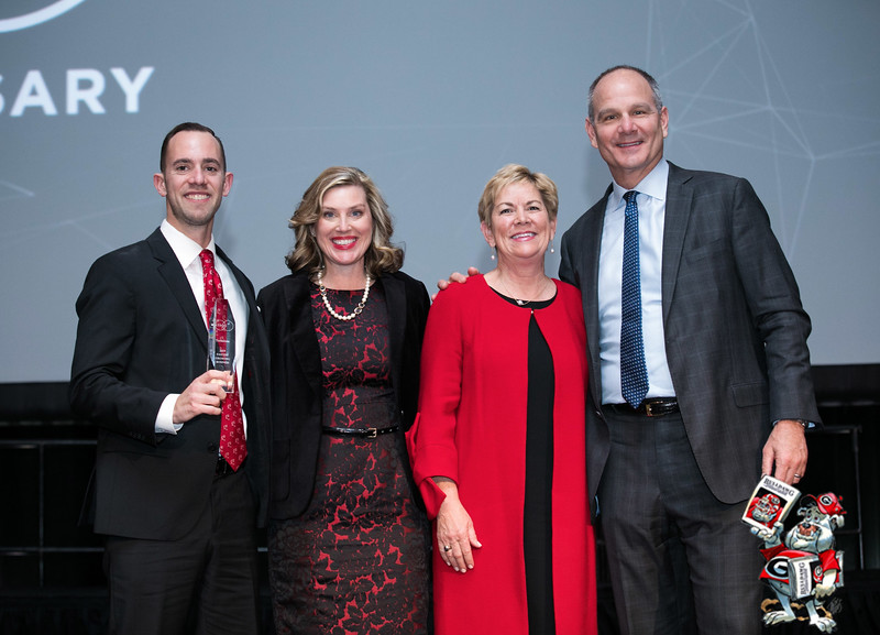 Eric Spett (#1 Terminus), Meredith Johnson (executive director, UGA Alumni Association), Bonney Shuman (president, UGA Alumni Association) and event speaker Alan Mazarak (CEO of Vonage)