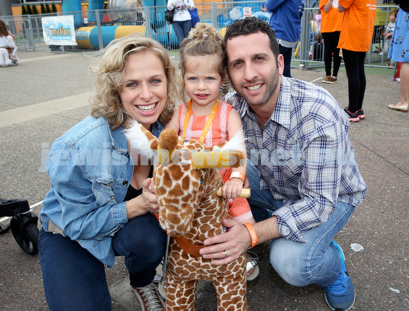 UIA Young Families event at The Entertainment Quarter. Lana, Ayla, Rob Goldshaft. Pic Noel Kessel