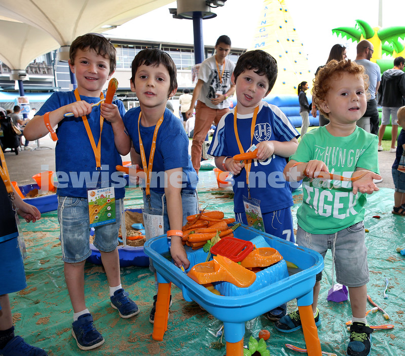 UIA Young Families event at The Entertainment Quarter. David Bass, Gavriel Cohen, Reuven Cohen, Micah Bass. Pic Noel Kessel.