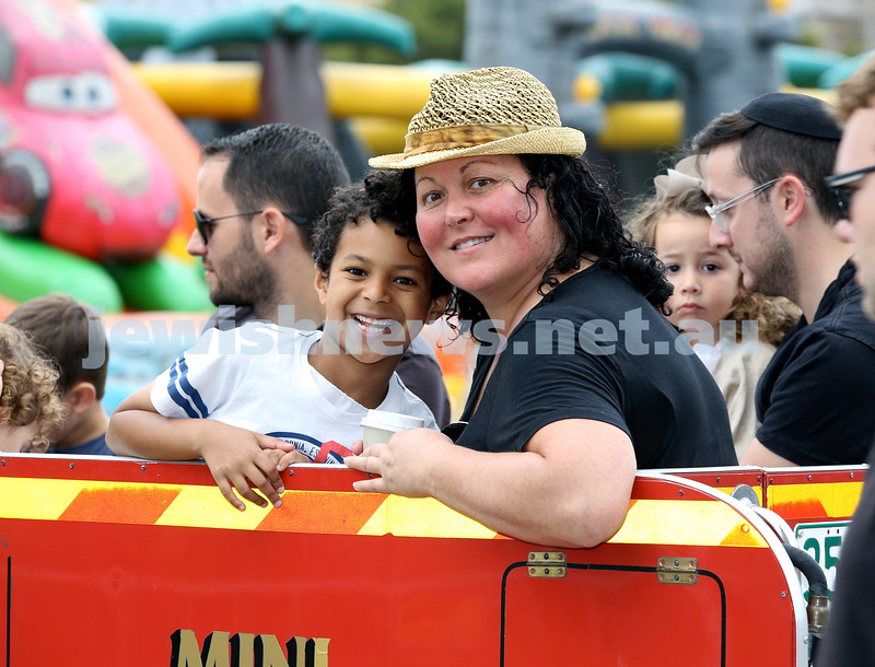 UIA Young Families event at The Entertainment Quarter. Rafi & Jacki Bowdre on the fire engine. Pic Noel Kessel.