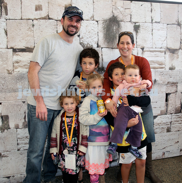 UIA Young Families fair at The Entertainment Quarter. The Guth family infront of the Kotel.