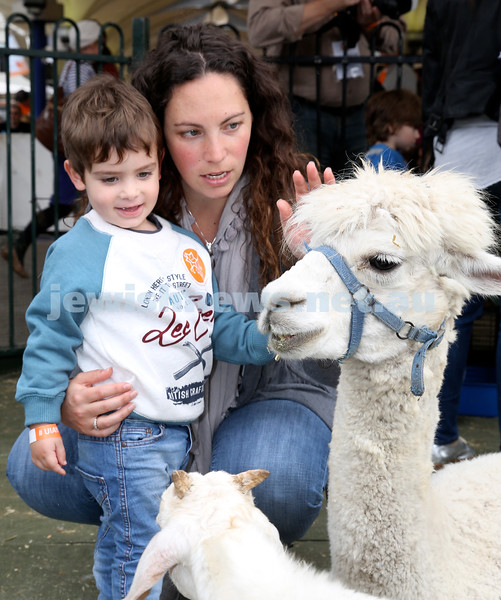 UIA Young Families fair at The Entertainment Quarter. Amanda & Ari Eisman in the petting zoo.