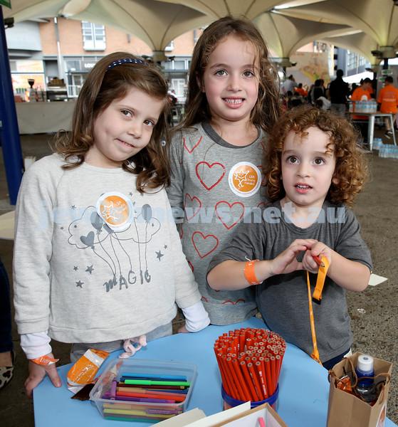 UIA Young Families fair at The Entertainment Quarter. Gemma Jacobson, Lila Salomon, Asher Salomon.
