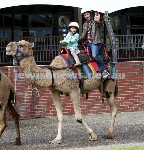 "UIA Young Families ""A Day In Jerusalem"" function. Dalia and Yonatan Tolub riding a camel. Pic Noel Kessel"