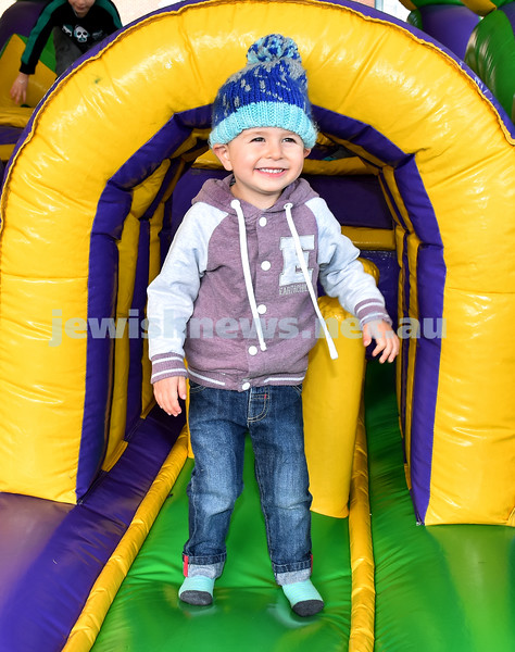 "UIA Young Families ""A Day In Jerusalem"" function. Adam Moddel having fun on the jumping castle. Pic Noel Kessel"