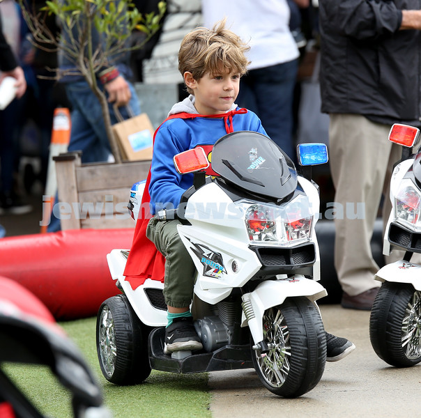 "UIA Young Families ""A Day In Jerusalem"" function. Aiden Lavner on a police bike. Pic Noel Kessel"