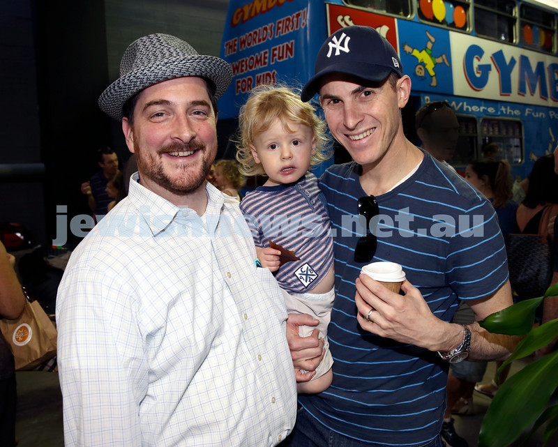 UIA Young Families Israeli Summer Days at The Venue. From left ; Rabbi Barak Cohen, Zev and Anthony Bass. Pic Noel Kessel