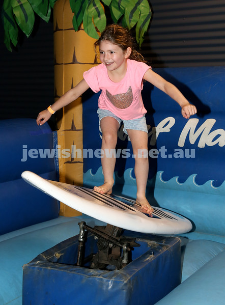 UIA Young Families Israeli Summer Days at The Venue. Keira Sher surfing. Pic Noel Kessel