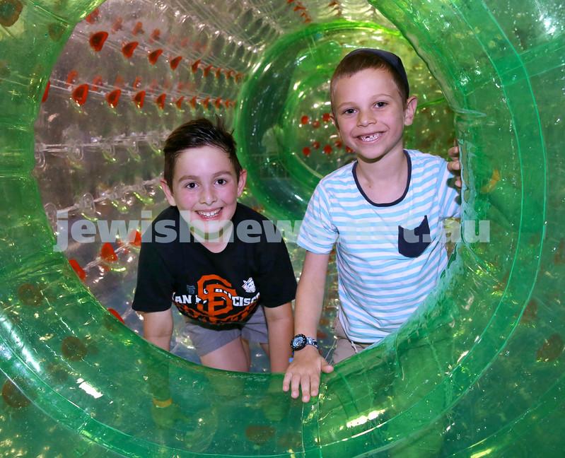UIA Young Families Israeli Summer Days at The Venue. Ari Lazarus (left), Moshe Schapiro. Pic Noel Kessel