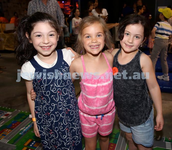 UIA Young Families Israeli Summer Days at The Venue. From left; Tali Neskin, Ella Josselsohn, Yasmin Port. Pic Noel Kessel