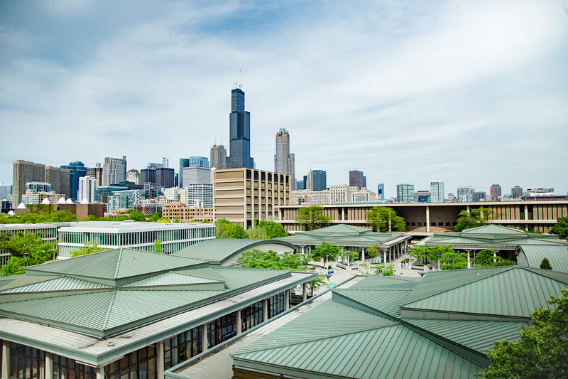 University of Illinois, Chicago campus with skyline of the city of Chicago in background.