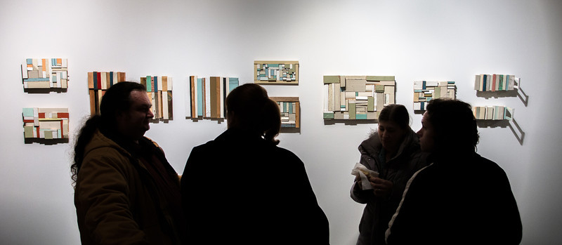 """Photography by Matt Gubancsik. Reception for Tom Duimstra's """"Zero +"""" and """"Mary Ann Aitken: A Retrospective 1983-2011.""""   Tom Duimstra, is an internationally known artist from Grand Rapids (who had a two-person show with Andy Warhol in the Netherlands in the 80s!). Recently departed Mary Ann Aitken, whose career began in Detroit, but for the last two decades in NYC. Her longtime friend, Ed Fraga, has helped maintain her collection and is happy to see her work to be gaining momentum in awareness."""