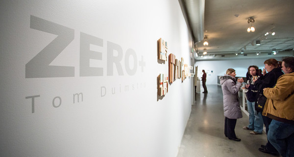 "Photography by Matt Gubancsik. Reception for Tom Duimstra's ""Zero +"" and ""Mary Ann Aitken: A Retrospective 1983-2011.""   Tom Duimstra, is an internationally known artist from Grand Rapids (who had a two-person show with Andy Warhol in the Netherlands in the 80s!). Recently departed Mary Ann Aitken, whose career began in Detroit, but for the last two decades in NYC. Her longtime friend, Ed Fraga, has helped maintain her collection and is happy to see her work to be gaining momentum in awareness."