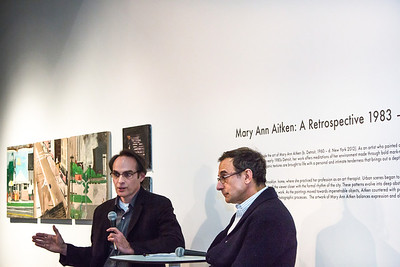 Ed Fraga and Burt Aaron discuss Mary Ann Aitken's work at the UICA 4th floor gallery.