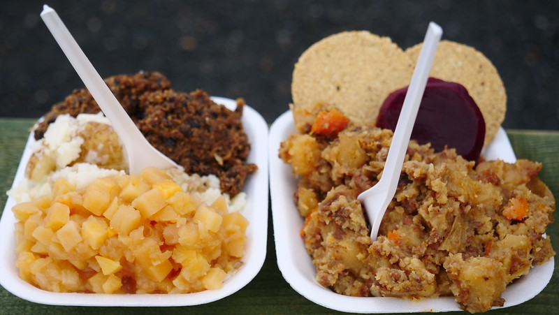 Trying Scottish food: beef stovies and haggis with neeps and tatties
