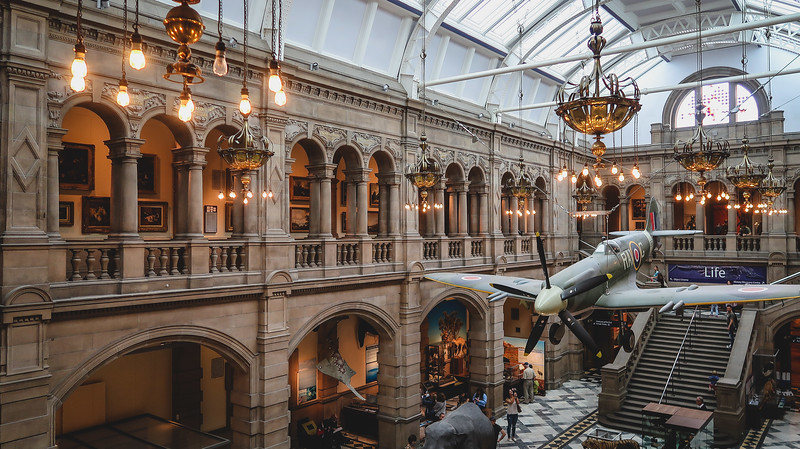 Inside the exhibits at the Kelvingrove Art Gallery and Museum