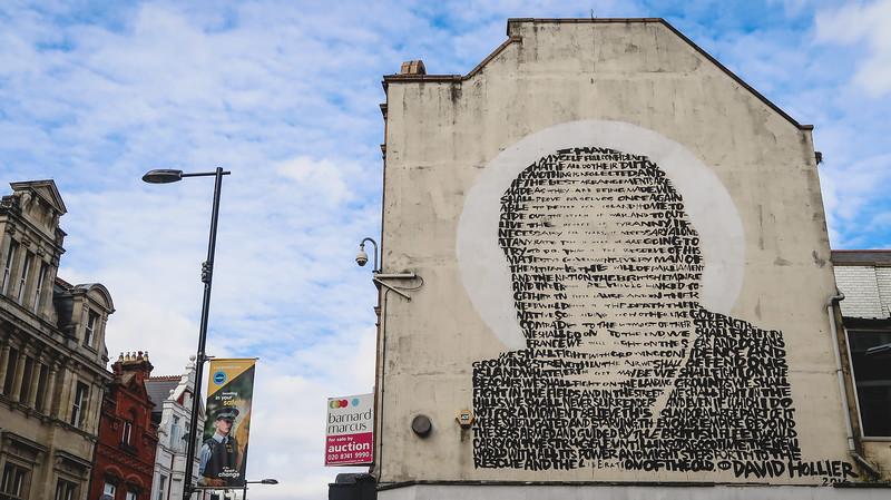 East Croydon street mural of WInston Churchill