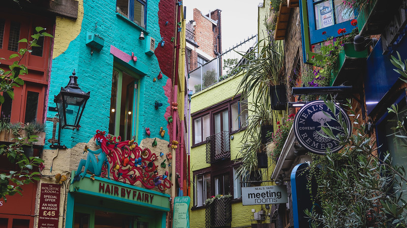 Colourful buildings in Neal's Yard in Seven Dials