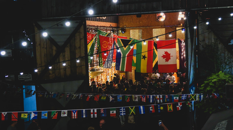 Flags from around the world at Pop Brixton