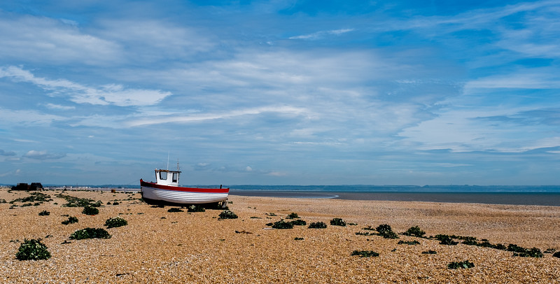 Fishing Boat Rebecca  wide view Dungeness UK May 2017