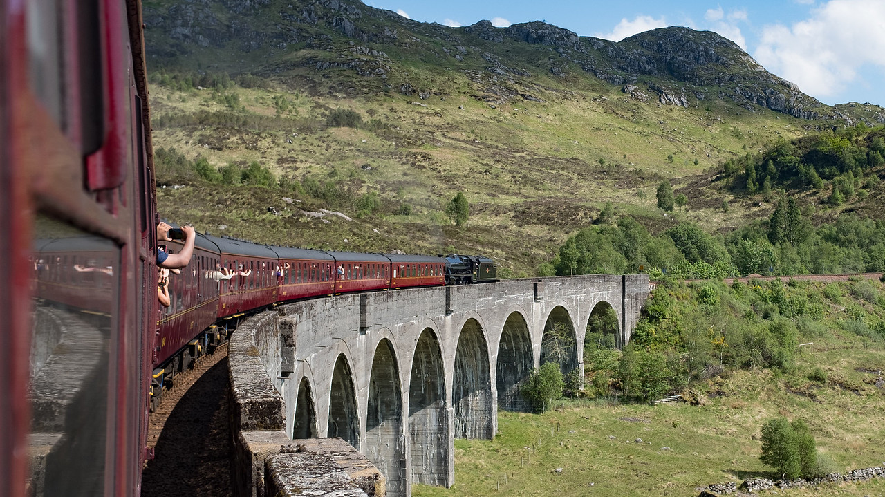Glenfinnan Viaduct The Jacabite Train May 2017