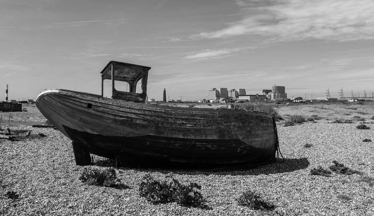 Derelict Fishing Boat Dungeness Nuclear Power Station Background May 2017