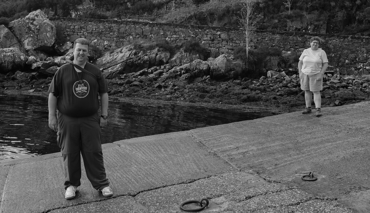 Ian and Julie Kylerhea Slipway Isle of Skye about to catch ferry to Glenelg Scottish Mainland May 2017
