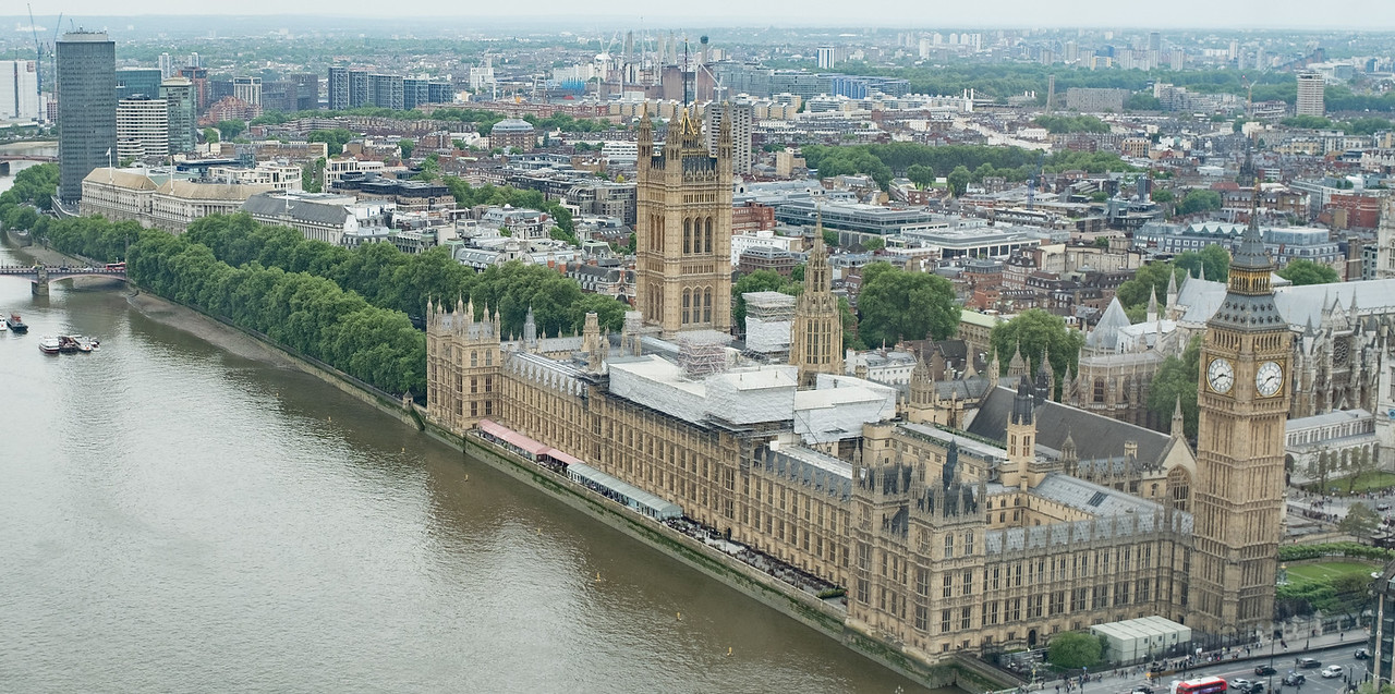 The Houses of Parliament London from the London Eye UK May 2017