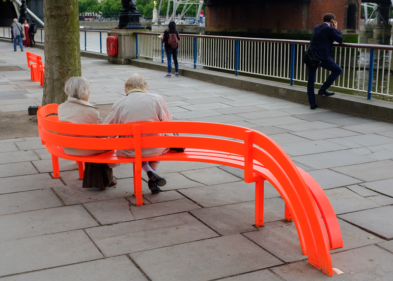 Red Bench Seat South Bank London May 2017