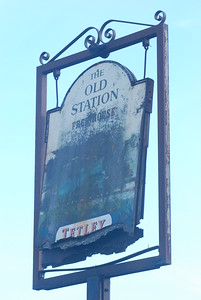 The pub now demolished, only the sign remains.