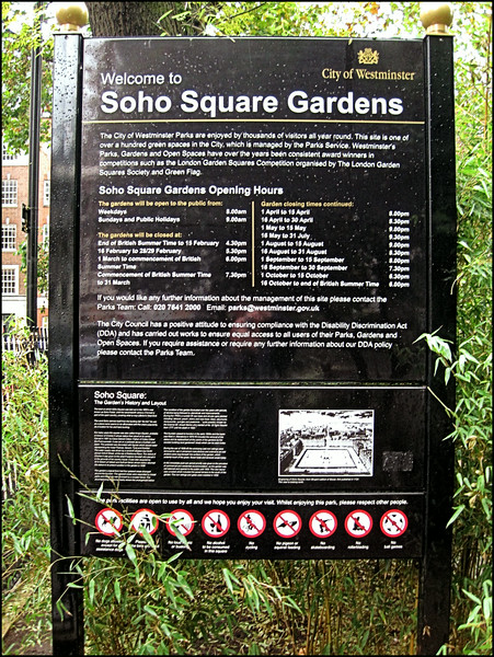Soho Square Gardens, London, UK - 2012.